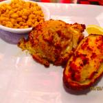crab/shrimp Cake, potatoes & corn
