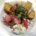 Tuscan Spring Salad with seasonal veggies, burrata cheese and cornbreadd croutonss