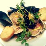Shellfish Pan Roast, with clams, mussels, vermouth, chervil, saffron aioli and baguette croutons