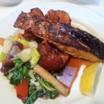Grilled Faroe Islands Salmon filet with honey-sesame-ginger glaze, Rainbow carrots, smashed red