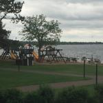 One of several playgrounds, this one next to the lake