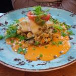 Fresh cod on a Thai sauce, with quinoa, lentils, mushrooms, tomatoes, and coriander.