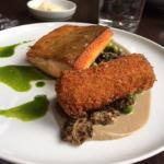 Perfectly cooked artic char, wild mushrooms, English peas and a croquette of potatoe