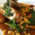 Norwegian farm chicken with blue cheese croquettes, corn and saison beer sauce. OMG!