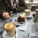 Latte and carrot cake
