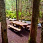 Streamside picnic table, not far from parking lot.