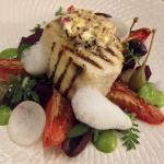Grilled Wahoo with spinach & macadamia puree, roast beetroot, slow roasted roma tomatoes, olives
