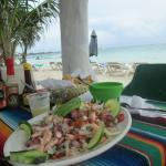 Seafood Ceviche and the sea.