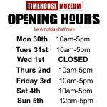 OPENING TIMES FOR THIS COMING WEEK ( ignore post made before this)