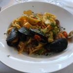 Scialatelli pasta with seafood. Homemade pasta with fresh seafood in a wonderful sauce.