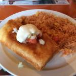 Chicken Chimichanga with rice