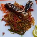 salmon dish with noodles