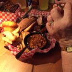 Rib Sandwich, beans and fries with corn muffin