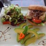 Vegie Burger with side of avacado and salad