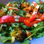 Curried broccoli, squash and roast red pepper salad (Vegan)