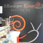 I really like this L'Escargot Rouge mural/logo inside.