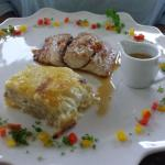 Fish with Ginger and honey and decadent Au Gratin Potatoes