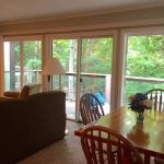 Windows line the entire living room/dining room with the view of the woods and babbling brook:)
