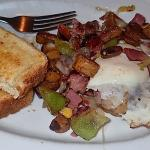 Bacon hash with poached egg and toast. This is a half serving--it was twice this large.