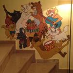 A mural by Rosa Birk Nielsen at  Stray Cat Hostel