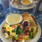 Greek Omelet with Cheese Grits & Rye Toast