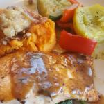 Cedar plank salmon, mashed sweet potatoes, and not so grilled grilled vegetables.