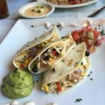 Delicious crab quesadillas, blackened grouper and cheese grits.