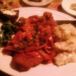 Gypsy Schnitzel, warm potato salad, German (mixed veggies) salad, baked bread