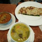 Breakfast roti with dhal and curry