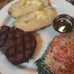 Filet and Baked Potato / Pink Trout and Garlic Mashed Potatoes
