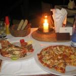 Tiger prawns and Pizza frutti di mare
