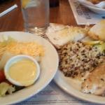 Grilled Talapia, Steamed Zucchini, Rice blend, Side salad