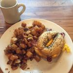 Scrambled egg on everything bagel