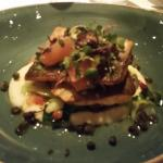 Arctic Char over pureed cauliflower and sauteed baby bok choy topped with micro greens & grapefr