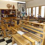 Weaving looms at the Latimer Quilt & Textile Center