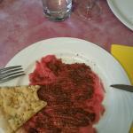 carpaccio di vitello e patè di olive taggiasche