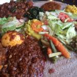 Photo is image of vegetarian platter, tibbs and doro watt :)