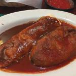 Bean burrito and vegetarian chili relleno,