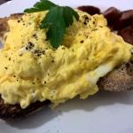 Scambled eggs and chorizo