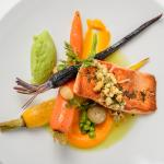 Salmon Sous-Vide- organic carrots, fresh peas & potato purée, carrot cream and cashew salsa