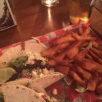 Jerk Fish Tacos with Fries