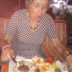 My sister enjoying her steak
