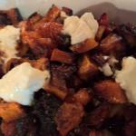One of their new family side dishes - butternut squash with spinach, smoke mozarella, onions & m