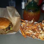Fried Onion Burger, Parmesan Fries, Tiki drink