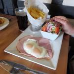 The ever popular ham, eggs and chips
