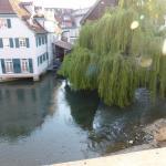 """Blick von der Terrasse des Restaurants Palmscher Bau auf den Neckarkanal """"Klein Venedig"""" - 2"""