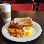 Breakfast at the Courtyard Marriott- not complimentary $25.60 for 2 entrees and 2 coffees