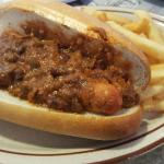 Looks like a single hot dog but there's actually two on that hoagie with chili...so good!
