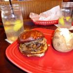 Pot roast sandwich w/baked potato - look at the drink glasses!