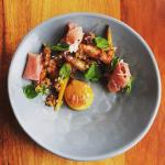 Roasted baby carrots, prosciutto, walnut vinaigrette and a 64 degree brown butter egg yolk